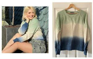 MARKS AND SPENCER M&S GREEN BLUE OMBRE SWEATSHIRT JUMPER TOP 14 HOLLY WILLOUGHBY