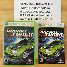 Import Tuner Challenge Xbox 360 Original Case Cover Art & Manual NO GAME