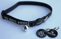 DO NOT FEED REFLECTIVE SAFETY CAT COLLAR BLACK & PERSONALISED TAG & FISH BONES