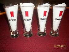 "Michelob Pilsner Beer Drinking Glasses Qty. 4 12 OZ 7 1/4"" Tall"