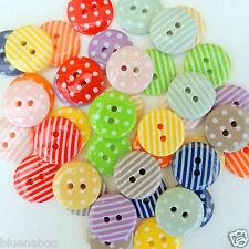 20 Colore Misto Bottoni a Strisce & A Pois Taglia 15mm
