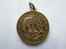 MEDALET C T FOR LOYALTY FIVE YEARS c1900 GILT PLATED on BRASS