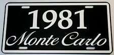 1981 81 MONTE CARLO METAL LICENSE PLATE 350 400 454 SS LOWRIDER NASCAR CHEVY