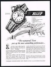 1950s Vintage 1951 Tissot Waterproof Wrist Watch Mid Century Modern Art Print AD