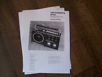 THE ROBERTS RP20 TECHNICAL DATA SHEETS
