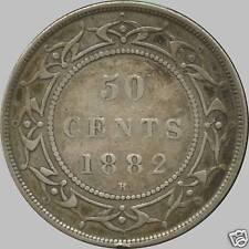 1882 'H' Newfoundland Silver 50 Cent Piece (11.78 grams .925 Silver)