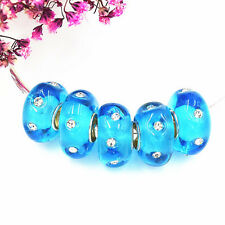 5pcs MURANO Lampwork charm Beads fit 925 silver European Bracelet Chain a147