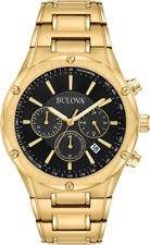 Bulova 97B161 43mm Stainless Steel Case Men's Chronograph Black Dial Gold Tone Bracelet