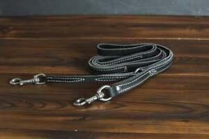 "Leerburg's Latigo Leather Prong Collar Leash - 3/4"" wide - Stainless Steel Hardw"
