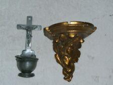 BENITIER ET ANCIEN SOCLE MURAL/STYLE BAROQUE/PLATRE/DORURE/H.15cm/CONSOLE/STATUE