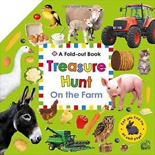 FOLD OUT TREASURE HUNT - ON THE FARM - KIDS ANIMAL ACTIVITY BOOK PRIDDY AS NEW