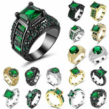 Green Emerald Wedding Band Ring white Black gold Rhodium Plated Jewelry Size 7