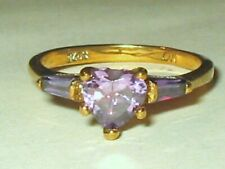 CW Gold Plate Sterling Silver Heart Amethyst & Tapered Baguettes Ring Sz 6.5