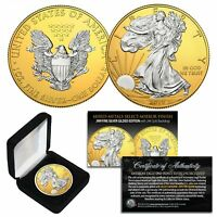 2019 American 1oz Silver Eagle MIXED-METALS SILVER w/ 24K GOLD Background MIRROR