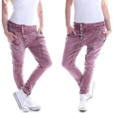 Mozzaar Damen Boyfriend Jeans Rot Übergröße Hose Baggy Chino Haremshose B30