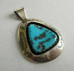 Sterling Silver Shadowbox Turquoise Pendant Teddy Goodluck  36932
