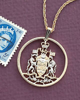 """Canadian Pendant and Necklace,Hand Cut Canada Coin, 1 1/8"""" in Dia,( # 426 )"""