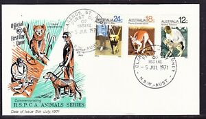 """Australia """"WCS"""" 1971  R.S.P.C.A  First Day Cover -(Green) Set - Unaddressed"""