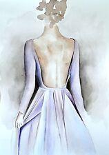 "Elie Saab Lavender Dress Watercolor Poster Fashion Couture Illustration 8""X11"""