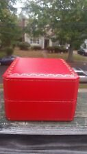 Cartier Box Bracelet Bangle Red WITH WHITE LEATHER Genuine CO 1018