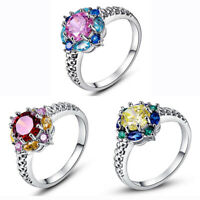 Charm Women Colorful Crystal Rhinestone Silver Plated Ring Wedding Band Ring Hot