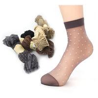 10Pairs Womens Polka Dot Nylon Elastic Ankle Sheer Stockings Silk Short Socks SK