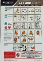 ELAL Airline Boeing 747-400 Safety Card Plastic Folded Last Items