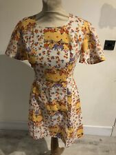 Vintage 60's White & Orange Floral Summer Mod Scooter Mini Dress Uk 10 Small