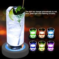 LED Coasters USB Rechargeable Color Change Light Up Drink Cup Mat Tableware Club