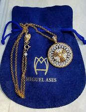 NEW Miguel Ases 14kt Gold Plated GF MOP Miyuki Seed Bead Circle Pendant Necklace