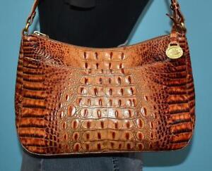 Vintage BRAHMIN Croco Embossed Leather Brown Hobo Crossbody Shoulder Purse