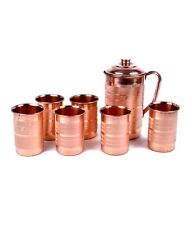 Brown Color Pure Copper Jug - 1500 ml and 6 Glass Sets (250 ml each)