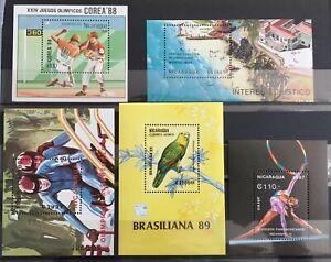 Nicaragua 1987/99 Bird Sport Baseball Sheets MNH x 5(La53)
