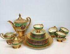 Victoria Czechoslovakia China 24k Gold Decorated Bohemian Dinner Tea Set 25 Pc.