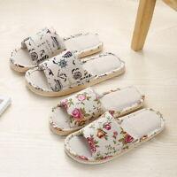 76 Women Ladies Anti-slip Cotton Linen Home Shoes Indoor Open Toe Flat Slippers