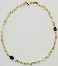 Ankle Bracelet 10 inch Long Gold Filled Black & White Colored Stones Anklet # 27
