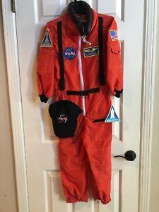 Aeromax Jr. Astronaut Suit Kids Costume w/ NASA Cap and patches, ORANGE sz 8-10
