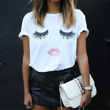 Top Women Summer Loose T-shirt Lashes Lips Printed White T-Shirts Tops Tee TH