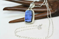 """New 20 ctw Natural Labradorite 925 Sterling Silver Women's Necklace 24"""" Chain"""