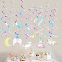 12Pcs Unicorn Swirl Decor Colorful Unicorn Foil Hanging Ceiling Swirl for Party