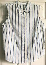 LIZ CLAIBORNE SHIRT L BLOUSE WHITE COTTON BLUE YELLOW STRIPED GOLF TOP Sale