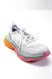 HOKA ONE ONE Womens Clifton Edge Running Sneakers White Blue Pink Size 7