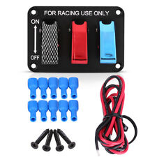 3 Group Toggle Switch Panel Carbon Fiber & Red & Blue for 12V Racing Cars RV Hot