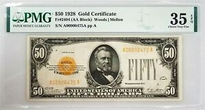 1928 Fifty Dollars Gold Certificate certified Choice Very Fine 35 EPQ by PMG!