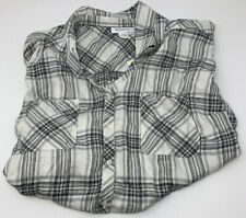 Motherhood Maternity Button Front Maternity Shirt in Grey White Short Sleeve XL