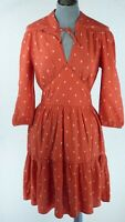 Whistles Maggie Fleur de Lis Fit & Flare Boho Chick Dress Red Printed Size UK 6