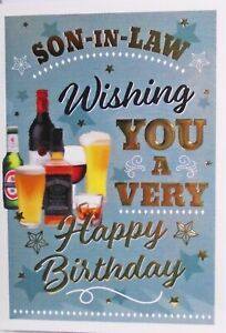 """Traditional Lager Wine & Spirits """"SON IN LAW"""" Birthday Card"""