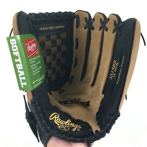 """Rawlings Softball Glove 14"""" RSB Series Right Hand Throw SS14BR Black and Tan NEW"""