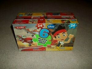 """New Sealed Disney 6 Puzzle Party Pack 9.1""""x10.3"""" Cardinal 24pc Jake Planes Cars"""