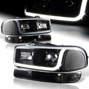 For 1999-2006 GMC Sierra 1500 2500 DRL LED Black Clear Lens Headlights+Bumper